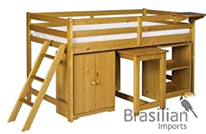 Childrens Cabin Bed Set with Mattress & Clip on Drinks Shelf