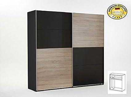 Schwebeturenschrank 2051 Schlafzimmerschrank 135cm lavafarbig/ eiche sägerau