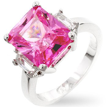 White Gold Rhodium Bonded Princess Engagement Triplet Ring with Pink Ice and Clear CZ in a Prong Setting in Silvertone