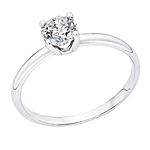 IGI Certified 14k white-gold Round Cut Diamond Engagement Ring (0.42 cttw, G Color, VS2 Clarity) - size 4