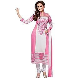 KMOZI Light Pink and White Embroidery Long Salwar Kameez