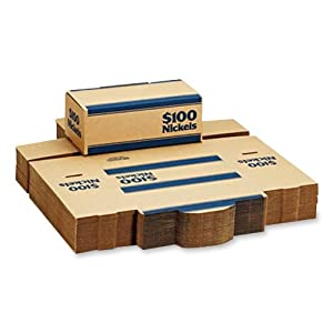 MMF Industries 240140508 - Corrugated Cardboard Coin Transport Box, Lock, Blue, 50 Boxes/Carton-MMF240140508