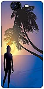 Snoogg Tropical Sunrise Designer Protective Back Case Cover For Micromax Canvas Knight A350