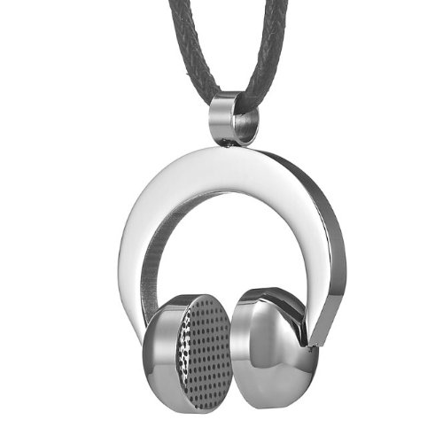 Unique Mens Stainless Steel Dj Earphones Pendant Necklace Chain