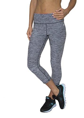 RBX Active womens Knee Length Printed Space Dye Yoga Crop Capri Leggings,Grey Stratus,Medium