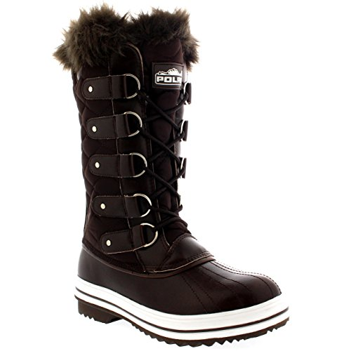 Womens Snow Boot Nylon Tall Winter Fur Lined Snow Warm Water