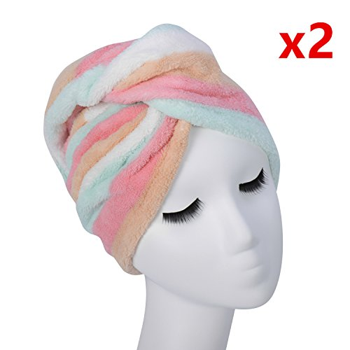 Aurotrends Microfiber Hair Turban Wrap 2 Pack Quick Dry