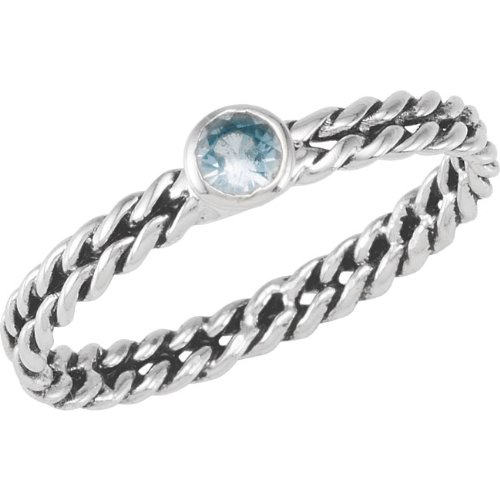 Sterling Silver Stackable Fashion Ring Oxi Double Twisted 4mm Bezel Aqua Cubic Zirconia- Size 7