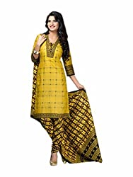 KG fashion printed cotton yellow dress material