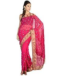 LiVi Chiffon Embellished Saree With Zari Buti & Border For Women - B00PU1NJ66