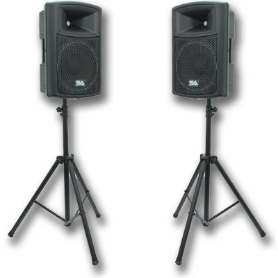 "Seismic Audio - Nps-12 (Pair) And Speaker Stands - 12"" Molded Pa Speakers With Tripod Speaker Stands"