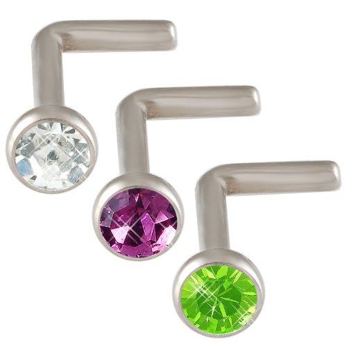 18g 18 gauge 1mm Steel nose rings bones studs screws bars Crystals JAEX Body Piercing Jewellery 3pcs
