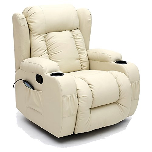 CAESAR 10 IN 1 WINGED LEATHER RECLINER CHAIR ROCKING MASSAGE SWIVEL HEATED GAMING ARMCHAIR (Cream)