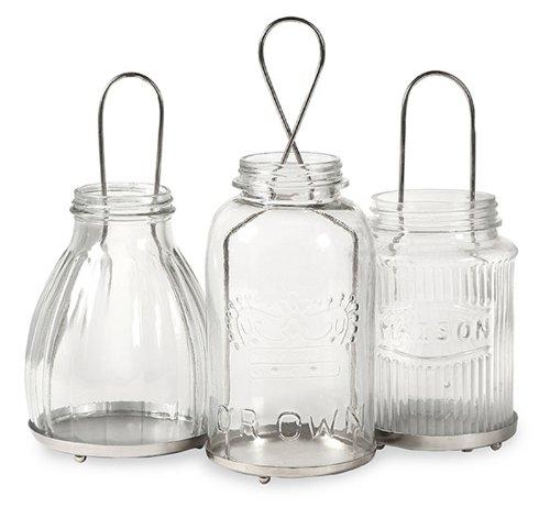 Set Of 3 Cambria Vintage Style Jar Tea Light Candle Holder Lanterns
