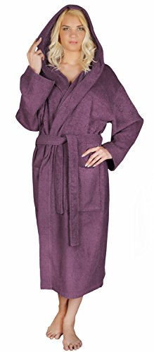 Arus Women's Classic Hooded Bathrobe Turkish Cotton Terry Cloth Robe (L/XL,Plum) (Hooded Terry Cloth Robe For Women compare prices)