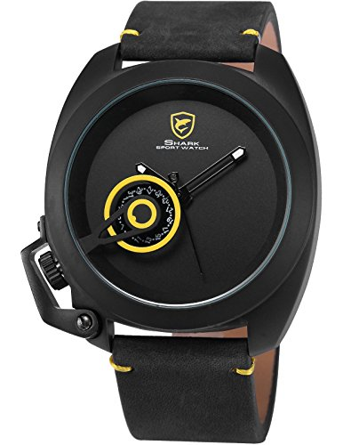 shark sh449 montre homme quartz date bracelet cuir noir plus simple jaune. Black Bedroom Furniture Sets. Home Design Ideas