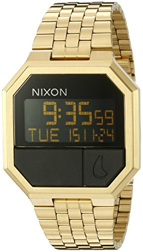nixon-mens-re-run-a158502-gold-stainless-steel-quartz-watch-with-digital-dial