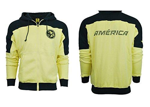 Club America Hoodie Youth boys Zip Front Fleece Sweatshirt Jacket yellow blue (YS) (America Soccer Jacket compare prices)