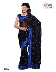 Black Color Georgette party wear fancy designer saree