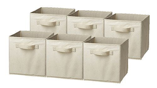 Sorbus Foldable Storage Cube Basket Bin, 6 Pack, Beige (Canvas Storage Bins compare prices)