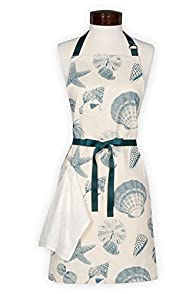 Lynne's Whim Sea Shells Made in USA Apron (Cream)