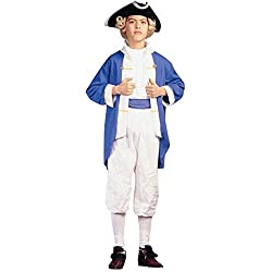 Childs Colonial Blue Captain Halloween Costume (Size: Small 46)