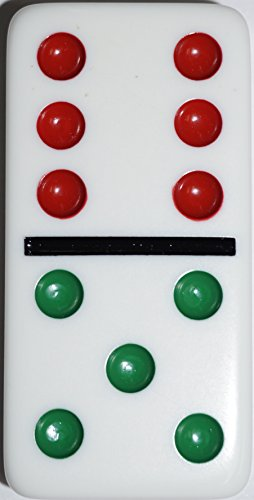 Double 6 Jumbo Dominoes - White With Color Dots