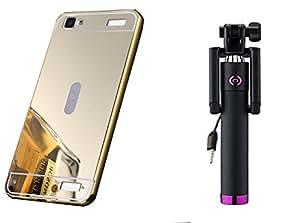 Novo Style Back Cover Case with Bumper Frame Case for Vivo Y37 Golden + Wired Selfie Stick No Battery Charging Premium Sturdy Design Best Pocket SizedSelfie Stick