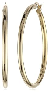 14k Yellow Gold Italian Polished 3 mm Tube 40 mm Hoop Earrings