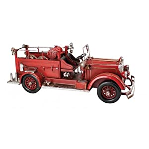 Firetruck Fire Engine Red Tin Classic Antique Finish New