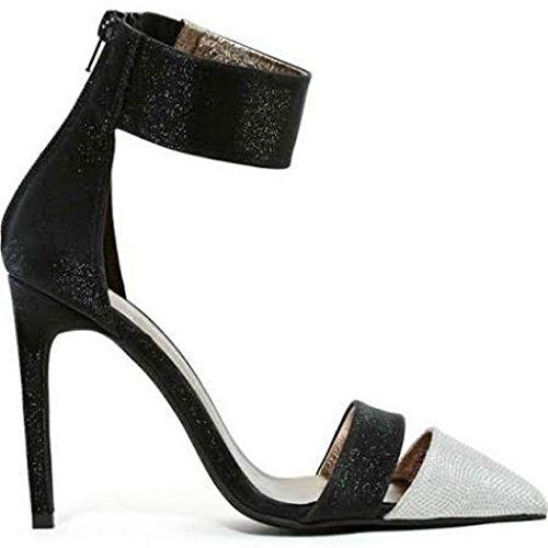 Jeffery Campbell Adelyn Womens Black / Silver Bling High Heel Pump Shoe Size 10 M