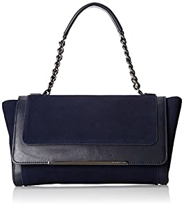 BCBG Leah Runway Suede Clutch,Navy,One Size