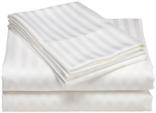 "Wholesale Price 300 Thread Count Egyptian Cotton Soft Bed Sheet Set With 10""Deep Pocket Stripe ( California King/Western King , White ) front-1050582"