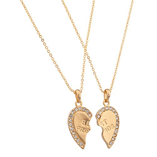 Lux Accessories Best Friends BFF Forever Necklace w/ Rhinestone Studded Valentine Hearts (2 PC)