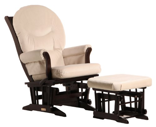 Dutailier Foam/Round Back Cushion Design Sleigh Glider Multiposition, Recline and Ottoman Combo, Beige
