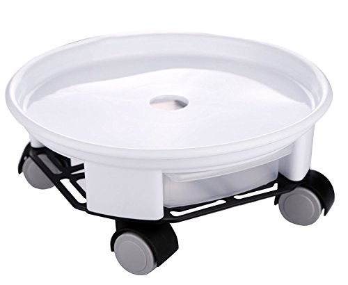 WOOSAL Round Plant Dolly with Wheels Plant Caddy for Chrismas Tree Plant Stand With Drainage Tray(#2,White) (Camper Casters compare prices)