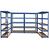 4 x 120cm Blue Greenhouse Storage Racks Bays / Garage Shelving / Shed / Utility