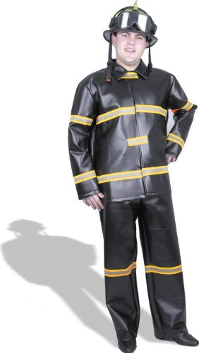 Fireman Pleather Adult Costume Size Large (42-44)