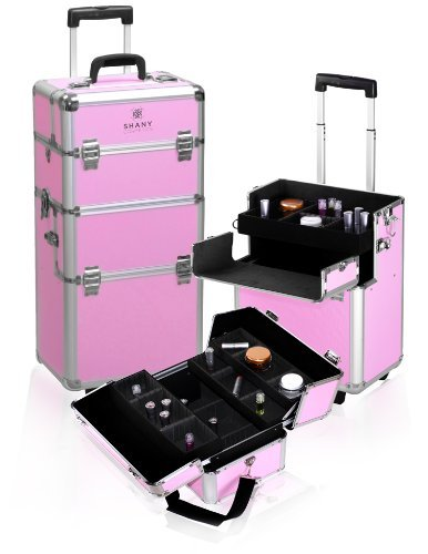 Shany Pink Snake Skin Rolling Makeup Case with Wide Trays, Premium Collection, 12 Pound