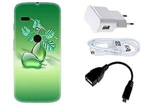Spygen Motorola Moto G (1st Gen) Case Combo of Premium Quality Designer Printed 3D Lightweight Slim Matte Finish Hard Case Back Cover + Charger Adapter + High Speed Data Cable + Premium Quality OTG