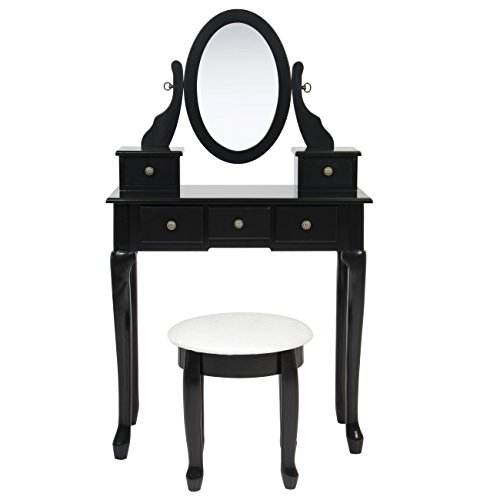 Best Choice Products Black Vanity Table Set Jewelry