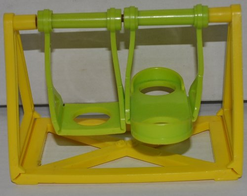 Vintage Little People Swing Set (Green & Yellow) (Peg Style) - Replacement Figure - Classic Fisher Price Collectible Figures - Loose Out Of Package & Print (Oop) - Zoo Circus Ark Pet Castle front-111663