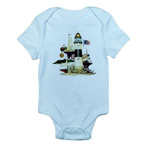 Artsmith, Inc. Infant Bodysuit Nautical Vintage Lighthouse Telescope Steering Wheel Anchor And Ships - Sky Blue, 3 To 6 Months