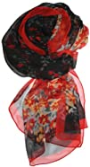 LibbySue-Floral   Graphic 2 Print Silk Blend Oblong Scarf