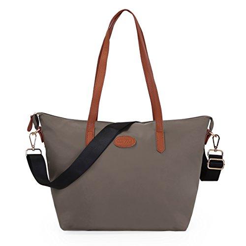 ECOSUSI Shopper Ufficio Tote Bag Borse a Spalla Donna Beige