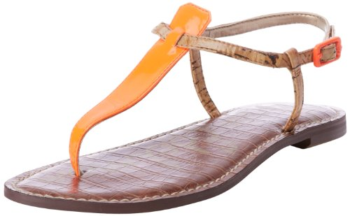 Sam Edelman Gigi Ankle Womens Orange Orange (NEON ORANGE NEON PATENT LTH /NATURAL) Size: 4 (37 EU)
