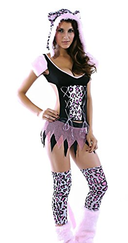 CHIC!, Women's Furry Tail Mesh Skirt Animal Hood Pussycat Role Play Costume SC24