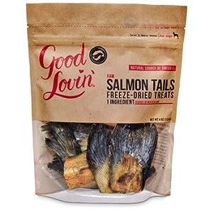 Good lovin 39 raw salmon tails freeze dried dog treats 4 oz for Raw fish for dogs