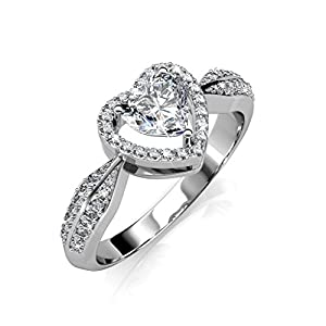 Tk Beauty Brass with 18k white gold plated Swarovski Crystal Lady Bridal Proposal Ring from Tk Design
