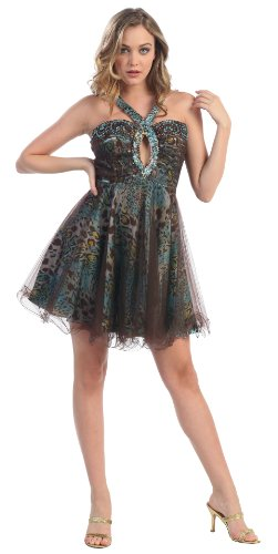 turquoise  amp  brown leopard print cocktail dress  2695 thumbnail images
